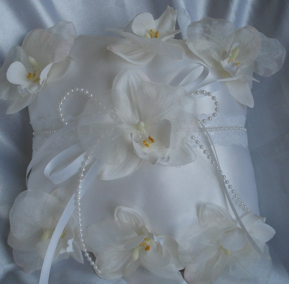 Bridal Pillow Ring Pillow Ringbearer Wedding Pillow of White Orchids