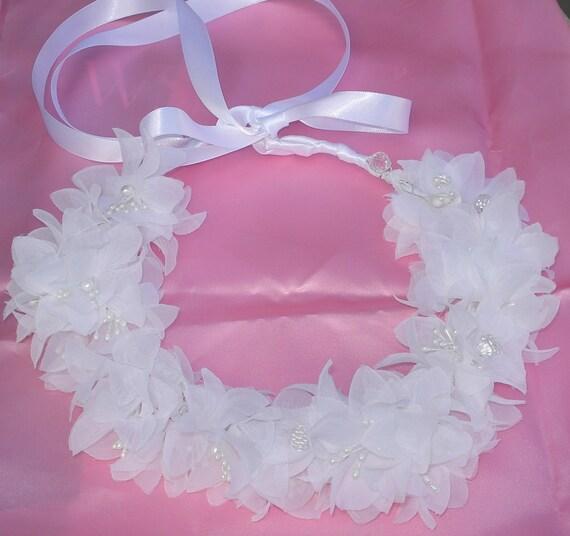 Bridal Hair Wedding Hair Bridal Crown Flower Crown Coachella Hair Wreath Headpiece White Silk Organza