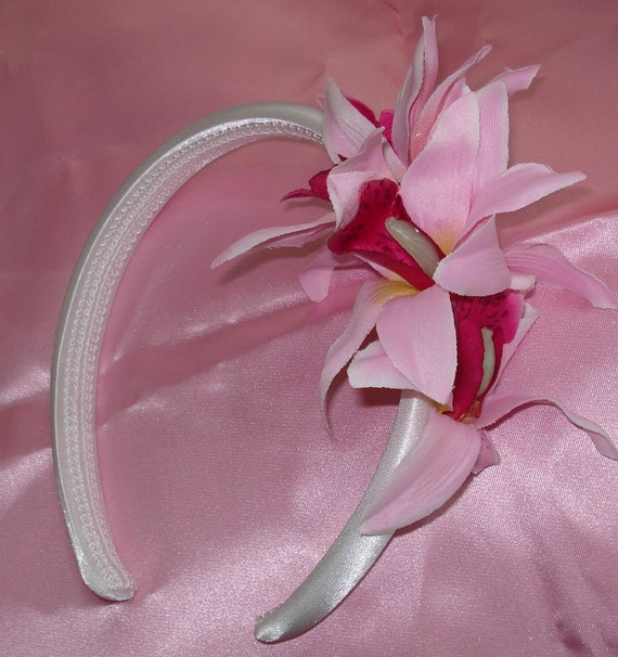 Bridal Hair Flower Crown Flower Girl Headband Wedding Hair Orchid Flower Headband Fascinator Pink Fuchsia