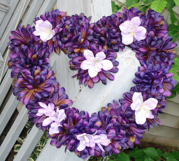Bridal Wreath Wedding Wreath Heart Wreath Home Decor Purple Lavender Ranunculus