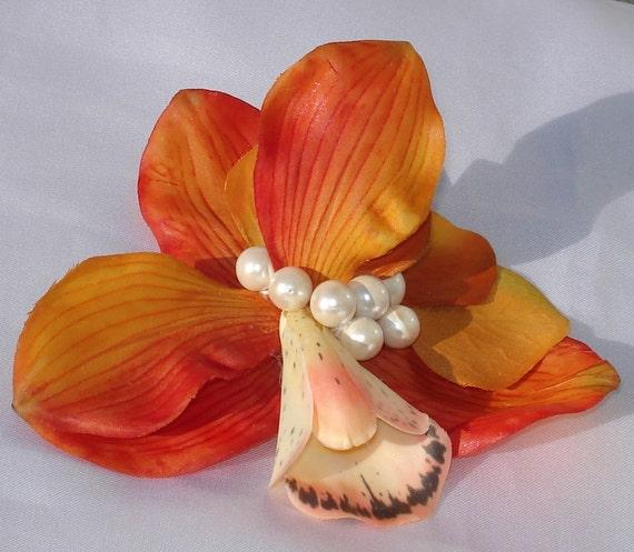 Bridal Hair Wedding Hair Orange Orchid Pearl Fascinator Hair Clip