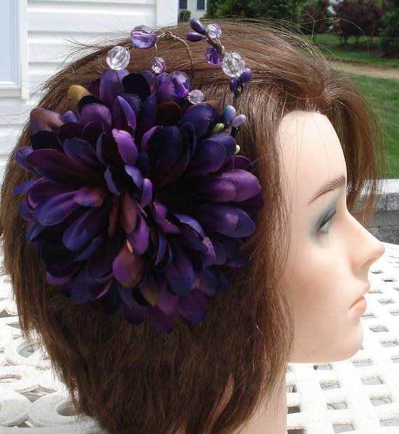 Bridal Hair Wedding Hair Purple Flower Hair Clip Headpiece Fascinator Berries n Crystals