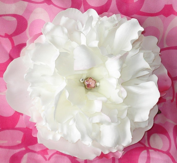 Bridal Hair Wedding Hair Flower Hair Clip Peony Headpiece Fascinator Swarovski Crystals