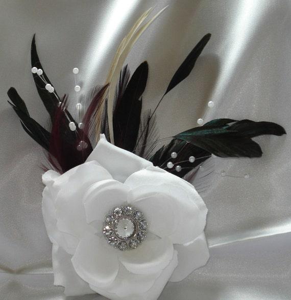 Bridal Hair Wedding Hair Feather Fascinator Rose Flower Hair Clip Formal