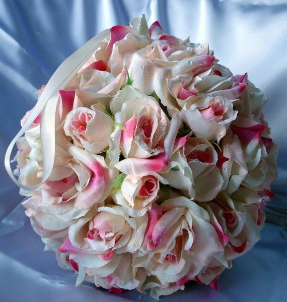 Bridal Pomander Kissing Ball Wedding Bouquet Wedding Decoration Centerpiece Pink n White Roses