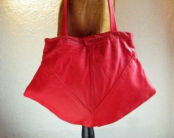 SALE!!! Red, recycled leather purse, shoulder bag, handbag