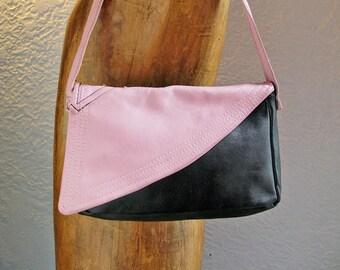SALE!!! Recycled leather purse, small handbag, retro, pink and black, Lota No.004