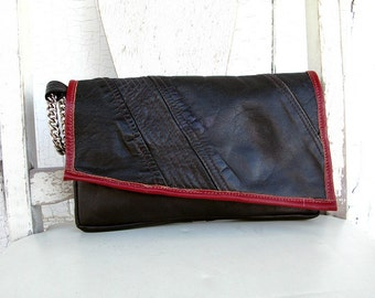SALE!!! Recycled Leather -  clutch purse