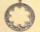 Scalloped Pierced Circle Pendant, Antique Silver, 2 Pc. AS61-2