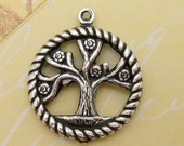 Tree Of Life Charm, Antique Silver, Trinity Brass, AS69
