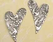 Embossed Heart Drop, Antique Silver, Trinity Brass, 1 Pair  AS10