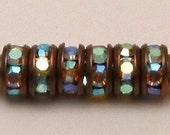 Rhinestone Rondelle Spacer Copper Crystal AB 6mm 6 Pc. C108