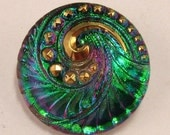 Czech Glass Button, Pendant, Spiral, Green Fuchsia Gold, 27mm C183