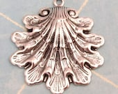 Seashell Pendant, Antiqued Silver Brass 2 Pc. AS214