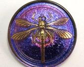 Czech Glass Button, Dragonfly, Royal Blue, Purple, Fuchsia, Gold, 31mm, With Pendant Converter C199