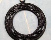 Filigree Pendant Berry Wreath Vintaj Arte Metal Black V76