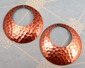 Hammered Hoop Antiqued Copper Trinity Brass 2 Pc. AC102