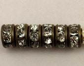 Rhinestone Rondelle Spacer Antique Brass, Crystal 4.5mm 6 Pc. C220