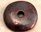 Mykonos Greek Ceramic Donut Disk Pendant 30 mm Bronze Patina M78