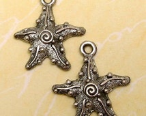 Starfish Charm Silver Antique Pewter 2 Pc. AP41