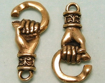 Hand Hook And Eye Clasp Antique Gold AG158