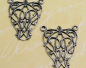 Scroll Filigree Connector, Antique Silver, Trinity Brass, 2 Pieces, AS105