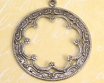 Scalloped Pierced Circle Pendant, Antique Silver, 2 Pc. AS61-2