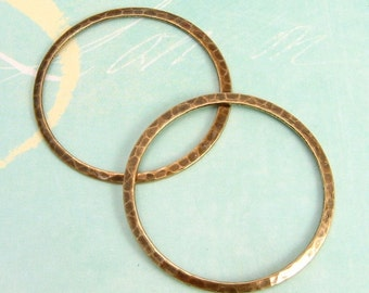 Large Hammered Ring, Antique Gold, Trinity Brass, 2 Pc. AG94