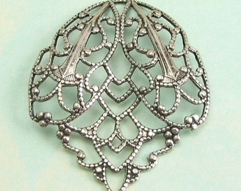 Antique Silver Filigree Crest Trinity Brass AS11