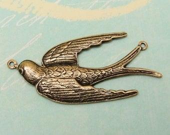 Bird Connector Flying Sparrow Antique Gold Trinity Brass AG108