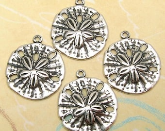 Sand Dollar Charm, Antique Silver, 4 Pc. AS171