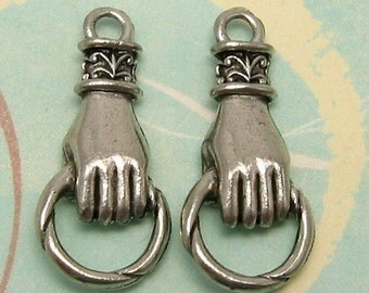 Hand Holding Ring Connector Antique Pewter 2 Pc. AP28
