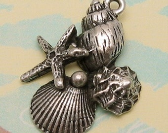 Seashell Pendant, Antique Pewter, 2 Pc. AS100