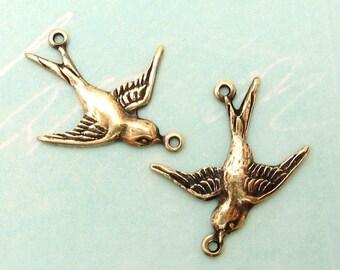Small Bird Connector, Antique Gold, Trinity Brass, 1 Pair AG104