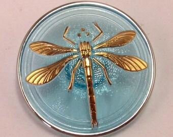 Czech Glass Button Dragonfly Aqua Gold 31mm With Pendant Converter C172