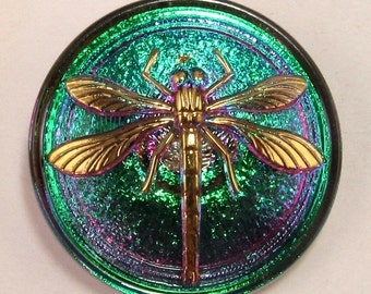Czech Glass Dragonfly Button Green Fuchsia Gold 31mm With Pendant Converter C173