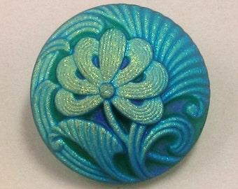 Czech Glass Flower Button, Matte Teal, Gold, 18mm, With Pendant Converter C180