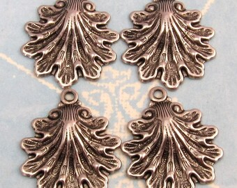 Seashell Charm, Antique Pewter Brass, 4 Pc. AS213