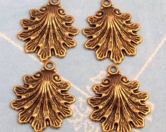 Seashell Charm Antique Gold Brass 4 Pc. AG183