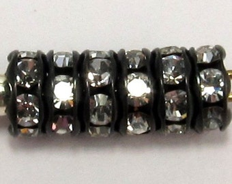 Rhinestone Rondelle Jet Crystal 5mm 12 Pc. C191