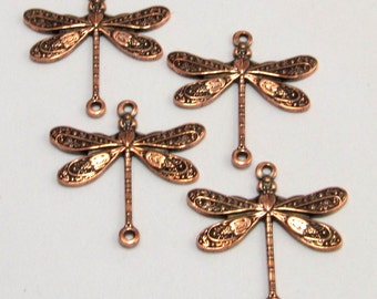 Antique Copper Small Dragonfly Connectors 4 Pc. AC81