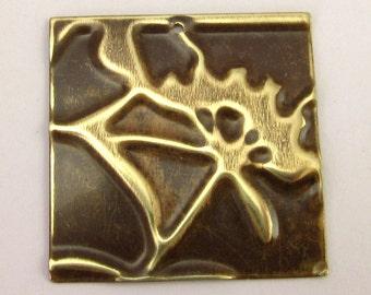 Square Flower Pendant, Embossed Vintaj Brass E13