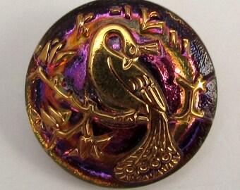 Czech Glass Button Pendant, Peacock, Purple, Fuchsia, Gold, 22mm With Pendant Converter C210