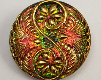 Czech Glass Button, Spiral, Green, Fuchsia, Gold, 32 mm With Pendant Converter C216