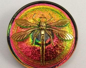 Czech Glass Dragonfly Button, Green Fuchsia Gold, 31mm With Pendant Converter C209