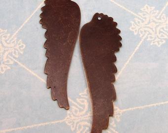 Vintaj Brass Feathered Wing Blank, 2 pc. V89