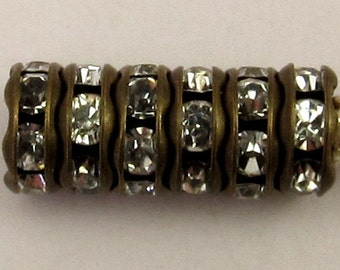 Rhinestone Rondelle Spacer Antique Brass, Crystal 6 mm 6 Pc. C221
