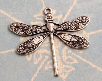 Detailed Dragonfly Charm, Antique Silver, 25 MM, 2 Pc. AS232