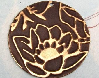 Lotus Flower Pendant Embossed Brass E41