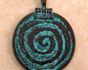 Spiral Pendant, Mykonos Casting, Green Patina M35